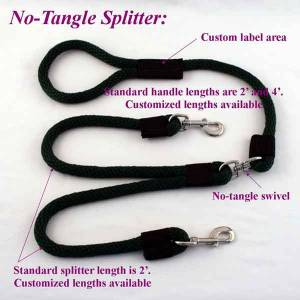 """dog leashes for two dogs, no-tangle dog snap leash splitter for two dogs, 5/8"""" no-tangle dog snap leash splitter for two dogs"""