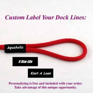 Boat locator dock lines, permanent boat dock lines with personalized label