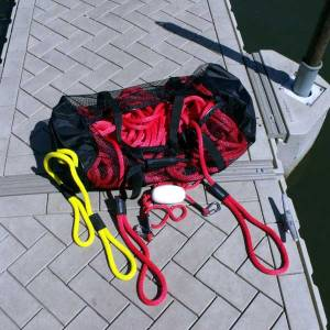 mesh storage duffel bag for boat dock lines, boat fender lines, boat launch lines, boat anchor lines