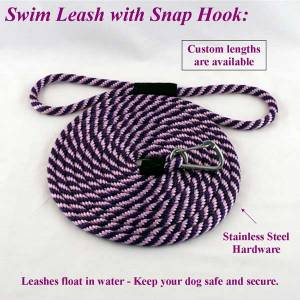 "Swimming Dog Snap Leash 1 Ft - Polypropylene 1/2"" Round"