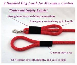 "Soft Lines, Inc. - 8 Foot Sidewalk Safety Dog Snap Leash 5/8"" Round Polypropylene"