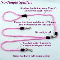 "Splitter Leashes for Two Dogs - 1/4"" Diameter - Soft Lines, Inc. - 4' ""No-Tangle"" Splitter Round Snap Leashes 1/4"""