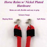 Horse split reins, horse split reins with nickel plated hardware
