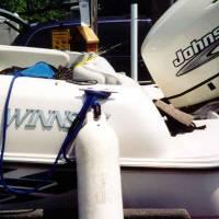 Boat fender lines, boat fender line in use on boat