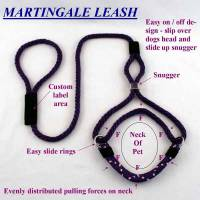 "Large Dog Slip Lead/Martingale Leash 10 Ft - Nylon 1/2"" Round"