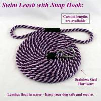 "Stainless Steel Spring Hook Leashes - 1/2"" Diameter - Soft Lines, Inc. - 8 Foot Swimming Dog Snap Leash 1/2"" Round"