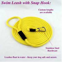 "Stainless Steel Spring Hook Leashes - 1/4"" Diameter - Soft Lines, Inc. - 30 Foot Swimming Dog Snap Leash 1/4"" Round"