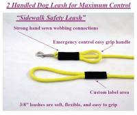 "Double Handle Safety Dog Leashes - 3/8"" Diameter - Soft Lines, Inc. - 4 Foot Sidewalk Safety Dog Snap Leash 3/8"" Round Polypropylene"