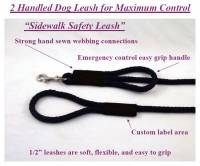 "Double Handle Safety Dog Leashes - 1/2"" Diameter - Soft Lines, Inc. - 4 Foot Sidewalk Safety Dog Snap Leash 1/2"" Round Polypropylene"